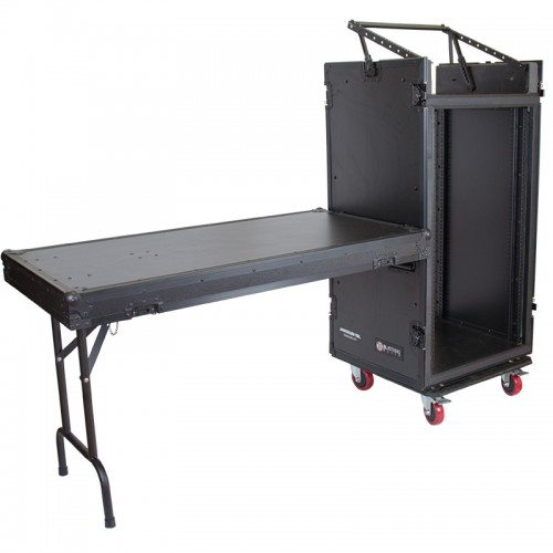 20U Vertical with 10U Slant Top Shock-mount Combo Rack with Side Table - ARW20UM-TBL