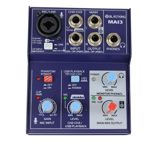 3-Channel DJ Mixer with USB Interface - MAI3