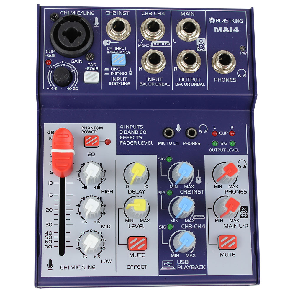 4-Channel DJ Mixer with USB Interface - MAI4