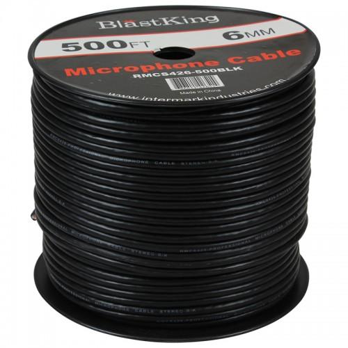24 AWG 2-Conductor Microphone Cable 500 Ft Black - RMCS426-500BLK
