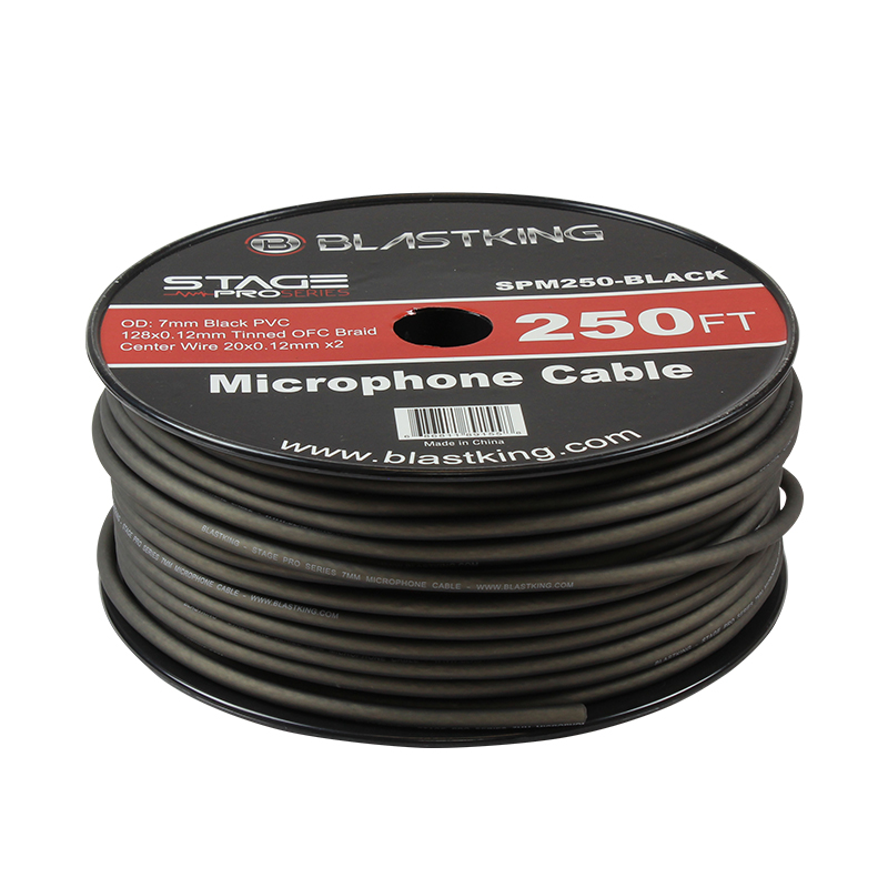2-Conductor OFC Microphone Cable 250 Ft Black - SPM250-BLACK