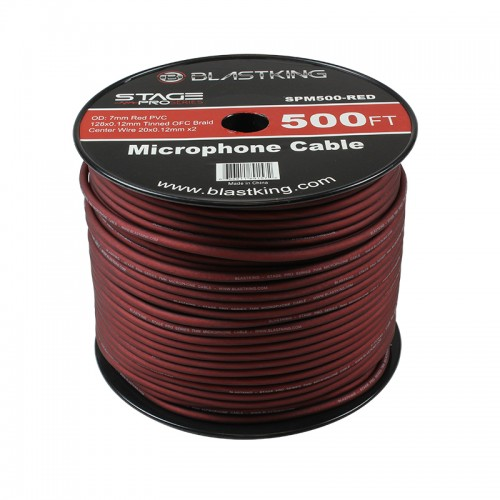 2-Conductor OFC Microphone Cable 500 Ft Red - SPM500-RED